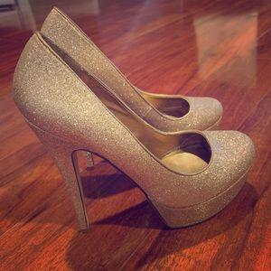 Glitter gold Aldo platform heels 37